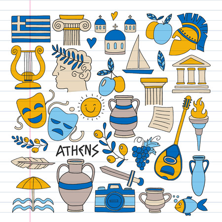 Travel to Greece. Vector set with doodle style icons Stock Illustratie