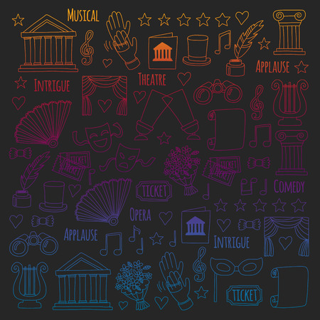 Vector set with theatre icons. Entertainment, show, musical perfomance