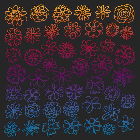 Vector set of colorful doodle flowers. Wedding ornament Stock Illustratie