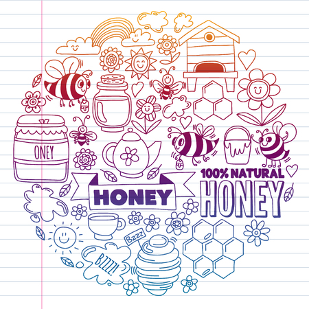 Vector image of bees, organic farm honey. Pattern with summer flowers. Healthy food