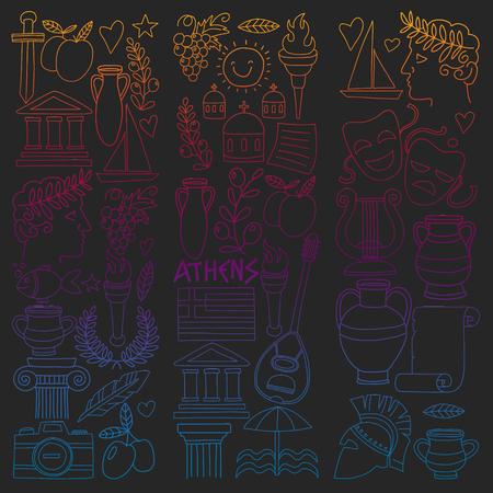 Vector set of doodle Greece icons Archivio Fotografico - 126034784