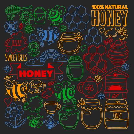 Image vectorielle d'abeilles, miel de ferme biologique. Modèle avec des fleurs d'été. Nourriture saine Vecteurs