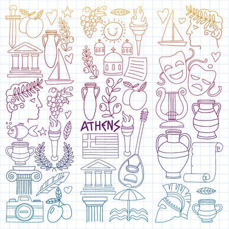Vektor-Set von Doodle-Griechenland-Icons