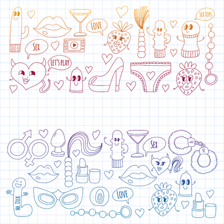 Funny icons for sex shop. Cute cartoon characters. Dildo, strawberry, condom, heart. Love and play Banque d'images - 116230130