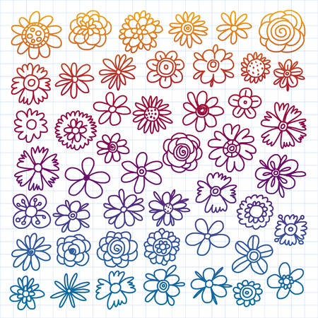 Vector set of colorful doodle flowers. Wedding ornament Çizim