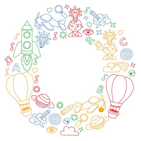 Bildung und Fantasieillustration für kleine Kinder. Bild für Kindergarten, Schulkinder. Reisen, Abenteuer, Erkundungen