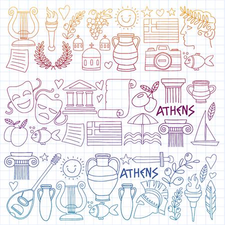 Ensemble de vecteur d'icônes de griffonnage Grèce
