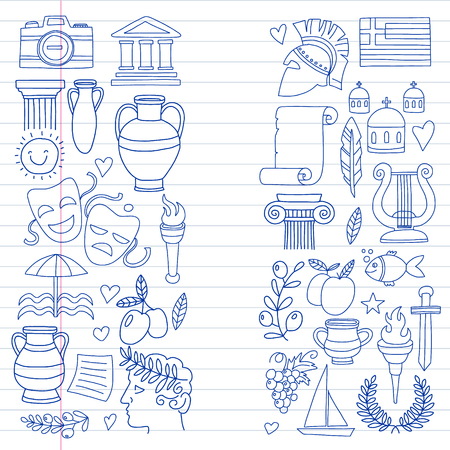 Vector set of doodle Greece icons