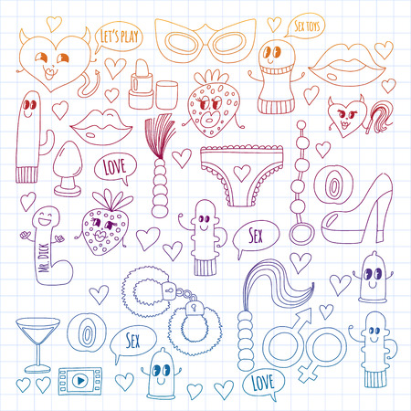 Funny icons for shop. Cute cartoon characters. Dildo, strawberry, condom, heart. Love and play
