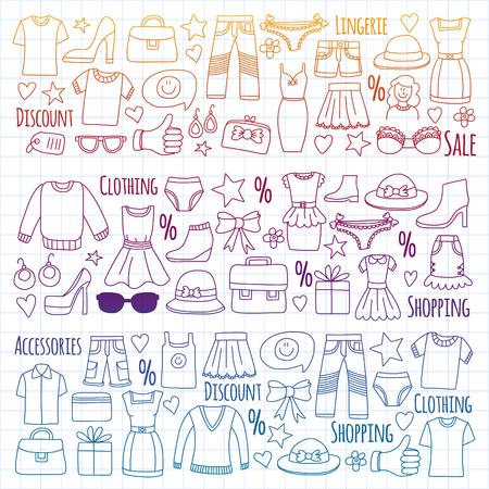 Shopping, mercato, negozio Icone di abbigliamento e moda