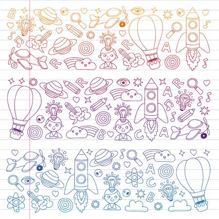 Education and imagination illustration for little children. Image for kindergarten, school kids. Travel, adventure, exploration Imagens - 115489253
