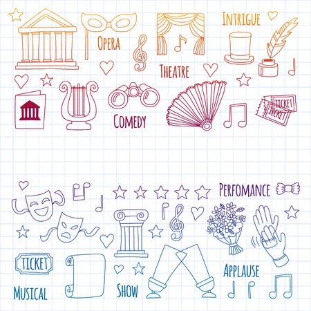 Vector set with theatre icons. Entertainment Illustration