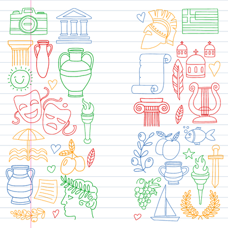 Vector set of doodle Greece icons Vektorgrafik