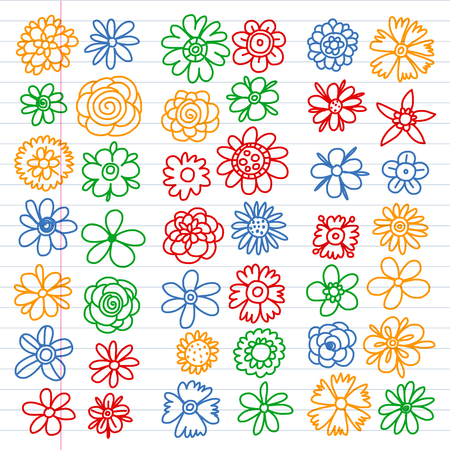 Vector set of colorful doodle flowers. Wedding ornament  イラスト・ベクター素材