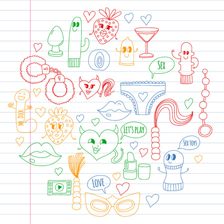 Funny icons for sex shop. Cute cartoon characters. Dildo, strawberry, condom, heart. Love and play Banque d'images - 116232477