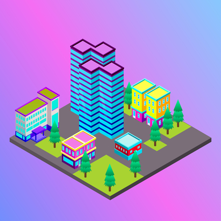 Vector isometric city with skysrapers. Town infographic illustration. Illustration