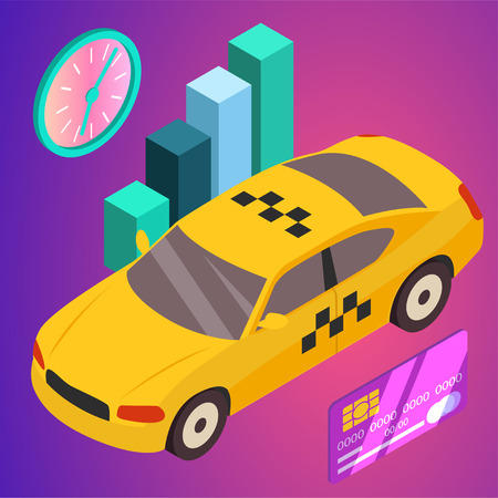 Taxi vector car illustration. Transport icon, symbol of transportation. Vehicle traffic banner design. Speed delivery Foto de archivo - 125851273