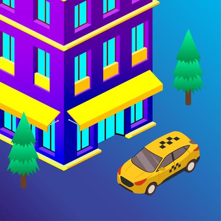Taxi vector car illustration. Transport icon, symbol of transportation. Vehicle traffic banner design. Speed delivery Foto de archivo - 125851274