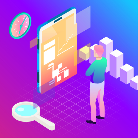 Virtual, augment reality concept. Futuristic vector illustration for banners, advertising. Cyberspace technology abstract background Иллюстрация