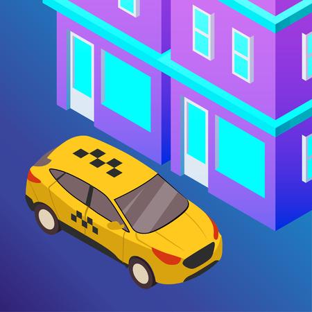 Taxi vector car illustration. Transport icon, symbol of transportation. Vehicle traffic banner design. Speed delivery Foto de archivo - 125851306