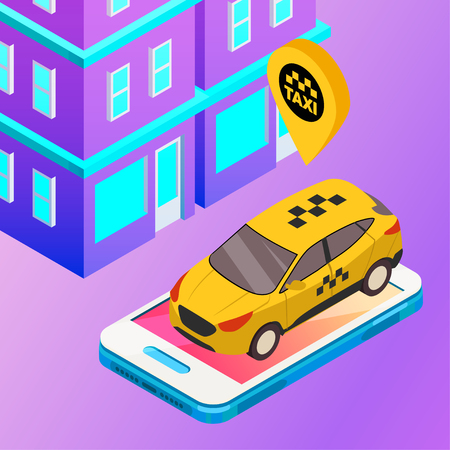 Taxi vector car illustration. Transport icon, symbol of transportation. Vehicle traffic banner design. Speed delivery Illustration