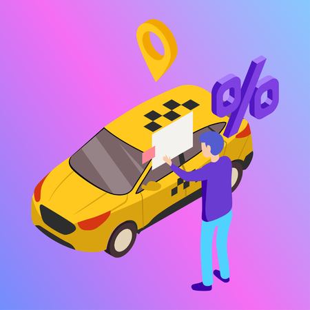 Taxi vector car illustration. Transport icon, symbol of transportation. Vehicle traffic banner design. Speed delivery Foto de archivo - 125851308