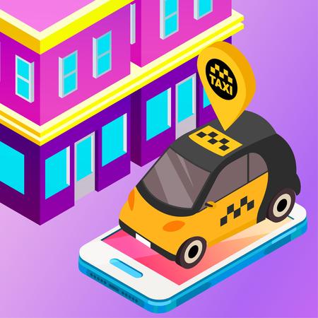 Taxi vector car illustration. Transport icon, symbol of transportation. Vehicle traffic banner design. Speed delivery Ilustração