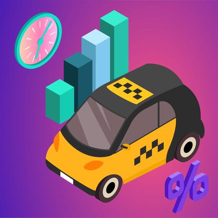 Taxi vector car illustration. Transport icon, symbol of transportation. Vehicle traffic banner design. Speed delivery. Иллюстрация