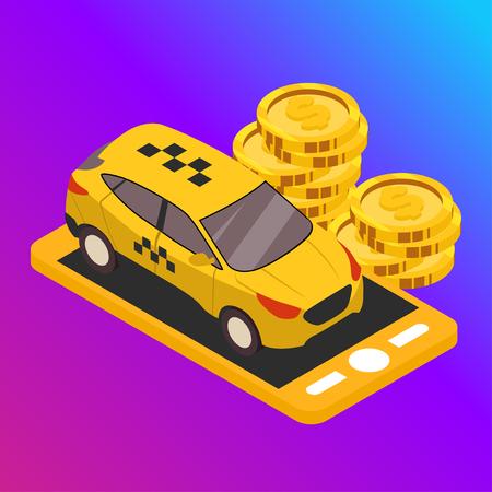 Taxi vector car illustration. Transport icon, symbol of transportation. Vehicle traffic banner design. Speed delivery. Foto de archivo - 116233022