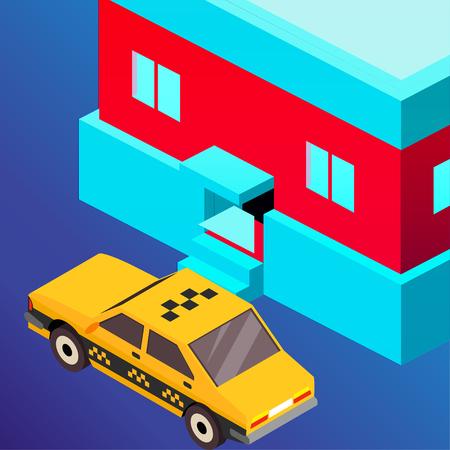 Taxi vector car illustration. Transport icon, symbol of transportation. Vehicle traffic banner design. Speed delivery Foto de archivo - 125851312