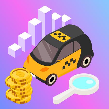 Taxi vector car illustration. Transport icon, symbol of transportation. Vehicle traffic banner design. Speed delivery. Foto de archivo - 116233074