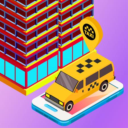 Taxi vector car illustration. Transport icon, symbol of transportation. Vehicle traffic banner design. Speed delivery Foto de archivo - 125851315