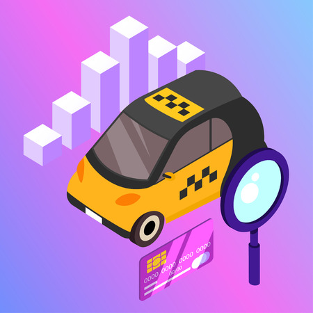 Taxi vector car illustration. Transport icon, symbol of transportation. Vehicle traffic banner design. Speed delivery. Illustration