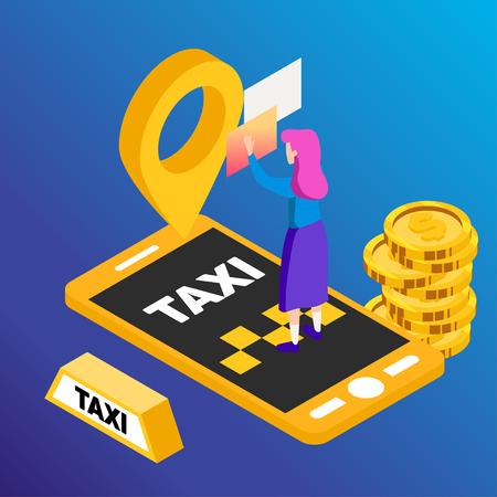 Taxi vector car illustration. Transport icon, symbol of transportation. Vehicle traffic banner design. Speed delivery Foto de archivo - 125851325