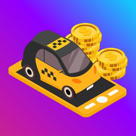 Taxi vector car illustration. Transport icon, symbol of transportation. Vehicle traffic banner design. Speed delivery. Foto de archivo - 116233081