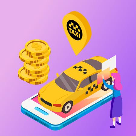 Taxi vector car illustration. Transport icon, symbol of transportation. Vehicle traffic banner design. Speed delivery. Foto de archivo - 116233084