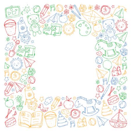 Kindergarten with toys. Pattern for children. Little preschool kids education. Drawing, learning Foto de archivo - 125803903