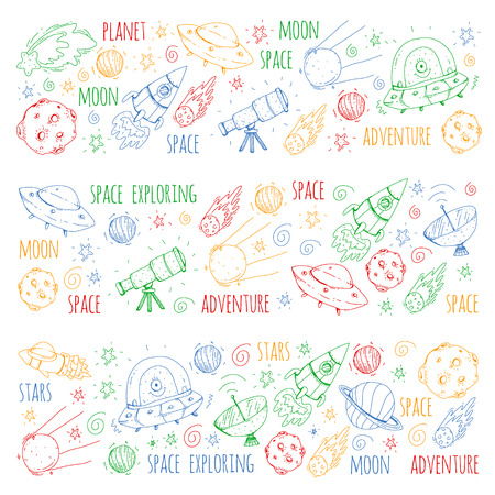Space vector illustration. Science, technology pattern. Rocket and spaceships.