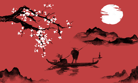 Japan traditional sumi-e painting. Indian ink illustration. Man and boat. Mountain landscape with sakura. Sunset, dusk. Japanese picture. Imagens