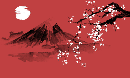 Japan traditional sumi-e painting. Indian ink illustration. Japanese picture. Sakura, sun and mountain Banco de Imagens - 116649519