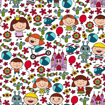 Children with toys. Colorful pattern for kindergarten posters