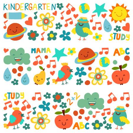 Modèle de maternelle pour les petits enfants. Icônes et personnages mignons pour les enfants