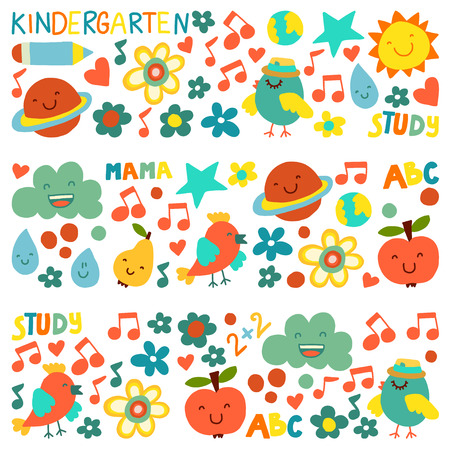 Kindergarten pattern for little children. Cute icons and characters for kids