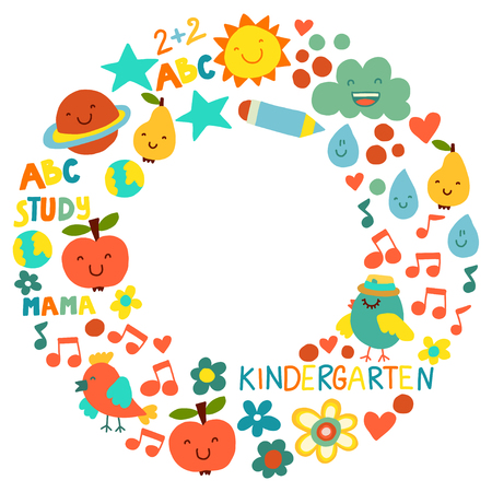 Kindergarten pattern for little children. Cute icons and characters for kids Foto de archivo - 125473533