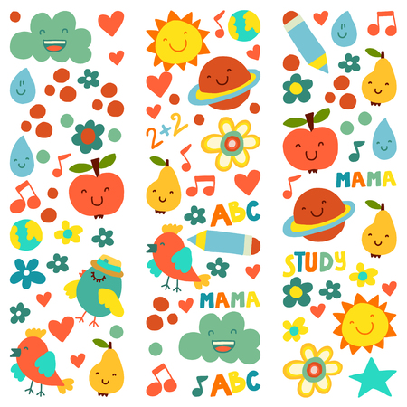 Kindergarten pattern for little children. Cute icons and characters for kids Foto de archivo - 125473535