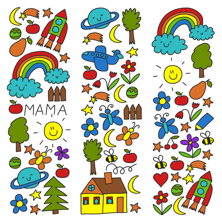 Kindergarten pattern for little children. Cute icons and characters for kids. Foto de archivo - 125473537