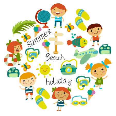 Beach and children. Summer vacation. Ocean, sea. Cartoon kids swimming. Standard-Bild - 116649717