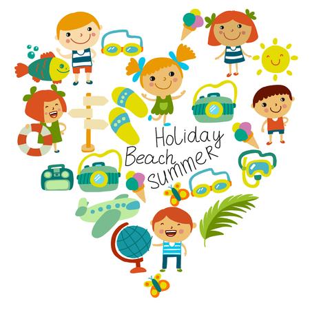 Plage et enfants. Vacances d'été. Océan, mer Dessin animé enfants nageant