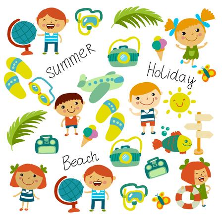 Beach and children. Summer vacation. Ocean, sea Cartoon kids swimming Standard-Bild - 125473604