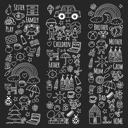 Household, family Vector pattern Parents